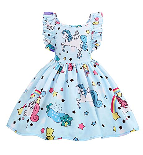 Cotrio Baby Girls Sundress Unicorn Strappy Backless Slip Dress Toddler Pageant Party Dresses Halloween Costume Outfits Size 6 (120, 5-6Years, Light Blue) -