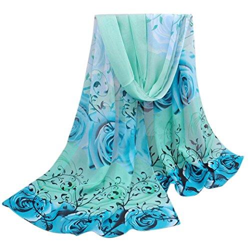 RedBrowm Women Beautiful Rose Pattern Chiffon Shawl Wrap Scarf (Blue)