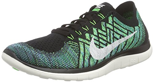 Nike Free 4.0 Flyknit Zapatillas de running, Hombre Negro / Verde / Blanco (Black / Sail-Vltg Green-Lcky Grn)