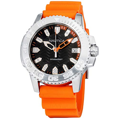 Nautica Men's Keywest Stainless Steel Japanese-Quartz Watch with Silicone Strap, Orange, 22 (Model: NAPKYW002) (Nautica Watch Set)