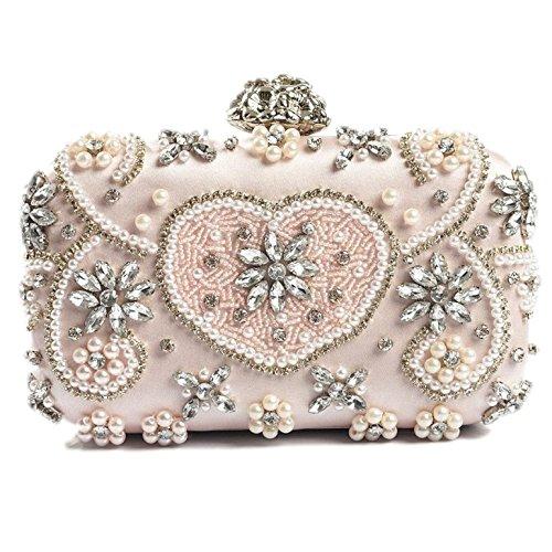 Embrague De De Preciosas Mano Bolso Bolsa Cuentas Con Noche Clutches Pink Damas Piedras Monedero Diamante Carteras Bolso De Banquete De Rhinestone wU6nYqxf7