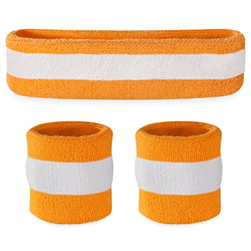 Suddora Striped Sweatband Set - (1 Headband and 2 Wristbands) Cotton for Sports & More. (Orange)