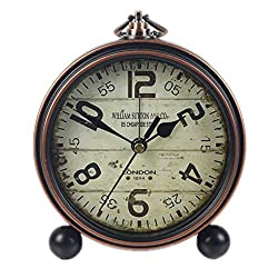 Justup Retro Table Clock, Non-Ticking Beside Table Desk Alarm Clock Vintage European Style Desk Shelf Mantle Clock Silent Metal Battery Operated Kids Bedroom Living Room (A)