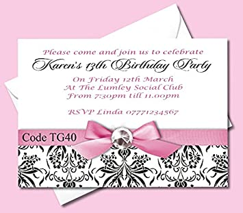 Personalised Teenage Girls Birthday Party Invitations Cards Ages 13th 14th 15th 16th