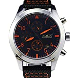 GuTe Fashion Cool Coated Glass Mechanical Wristwatch Automatic Orange-hands Black Dial Day/Date/Month