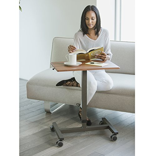 Seville Classics AIRLIFT 24.5'' Pneumatic Height Adjustable Sit-Stand Mobile Laptop Computer Desk Cart (29.3'' to. 43.5'' H), Maple by Seville Classics (Image #4)