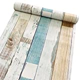 SimpleLife4U Colorful Wood Grain Contact Paper Decorative Shelf Drawer Liner Self-Adhesive Door Sticker 17.7 Inch By 9.8 Feet