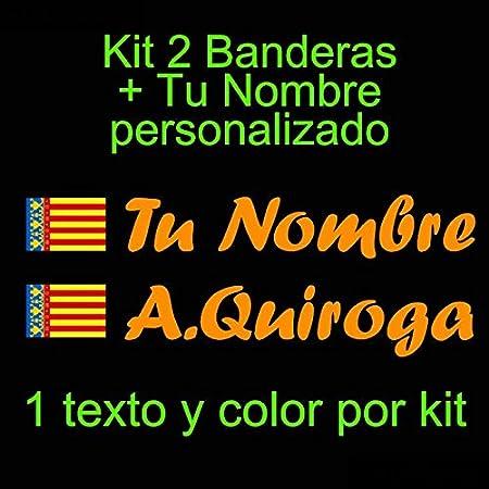 Vinilin - Pegatina Vinilo Bandera Valencia + tu Nombre - Bici, Casco, Pala De Padel, Monopatin, Coche, etc. Kit de Dos Vinilos (Blanco): Amazon.es: Coche y moto