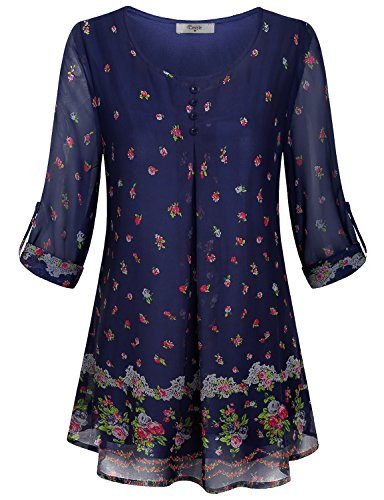 Cestyle Floral Blouse,Womens 2018 Summer Fashion Roll Up Long Sleeve Flower Printed Tunic Shirts Juniors Tired Cute 2 in 1 Cureved Hem Layered Going Out Woven Tops Deal Day Prime Blue Large]()