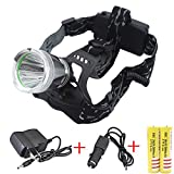 Genwiss 3000 Lumens Cree T6 LED Big Headlight 3 Switch Mode Strong Normal Flashing Headlamp Aluminum Alloy for Camping Biking Hunting Fishing Riding Walking (Included 2 X 18650 Batteries and Charger)
