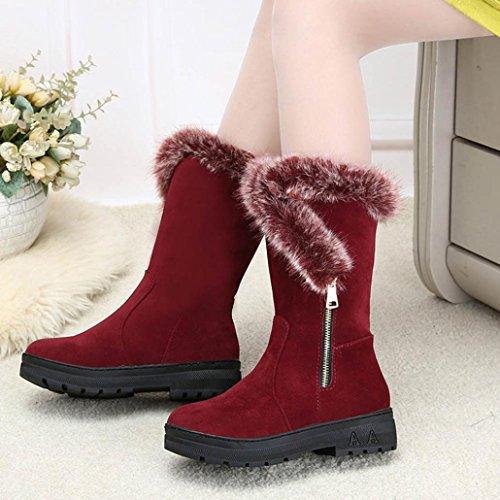 TM Women Warm Calf Shoes Red Winter Moccasin Boots Mid Flat Snow AMA Boots qZwdxP5FZI