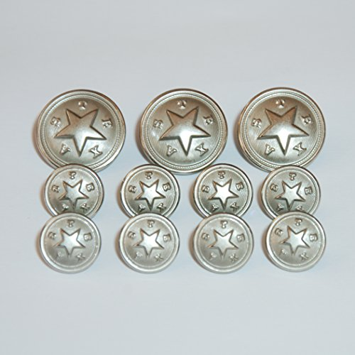 State Seal Buttons - Texas Star State Seal Blazer Buttons Matte Nickel Sport Coat 13 pc Button Set
