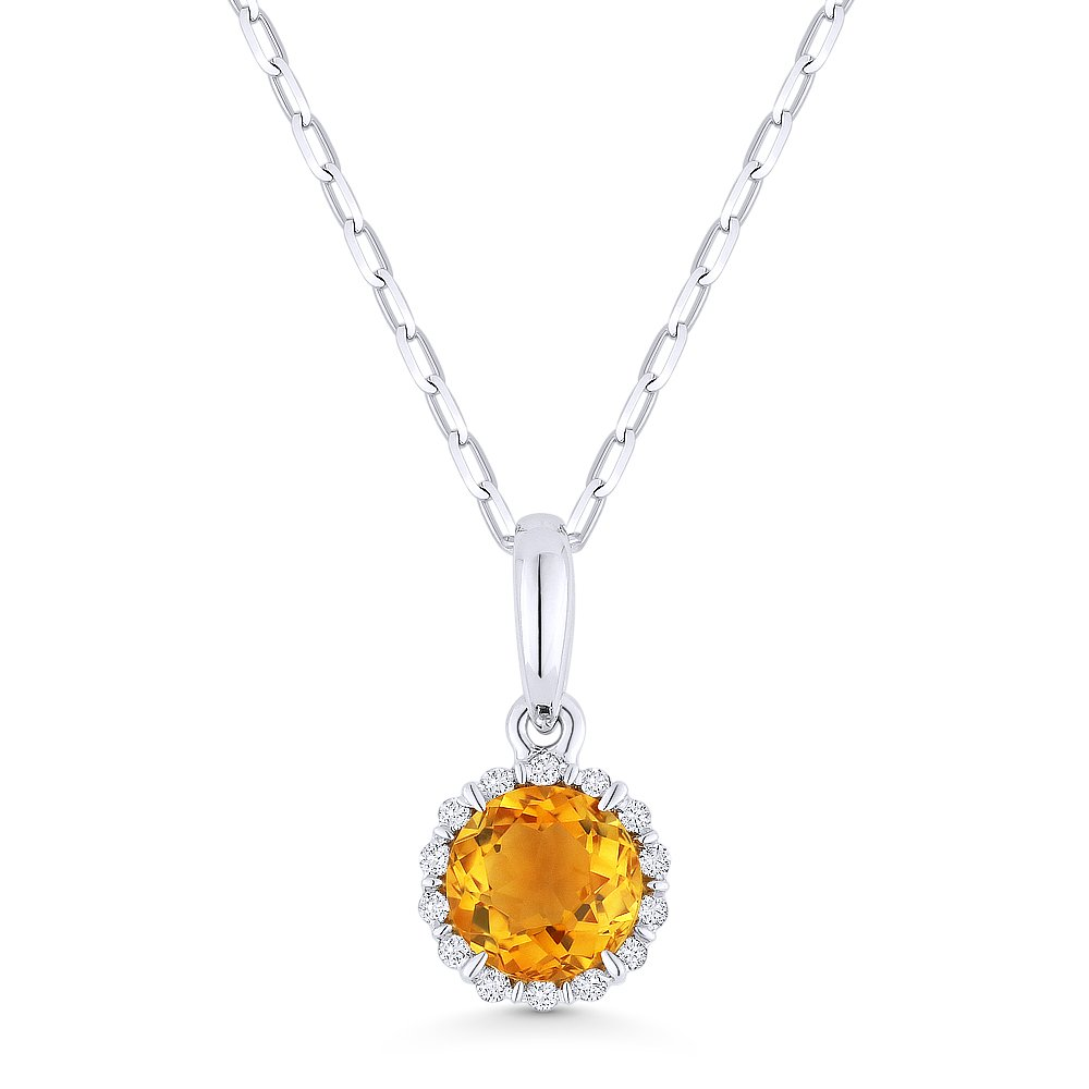 14K Gold Round Brilliant Shape Gemstone and White Diamond Pendant