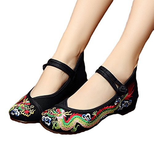 Shoes Cheongsam Embroidery Traditional Chinese Black Flats AvaCostume Dragon XgYqX
