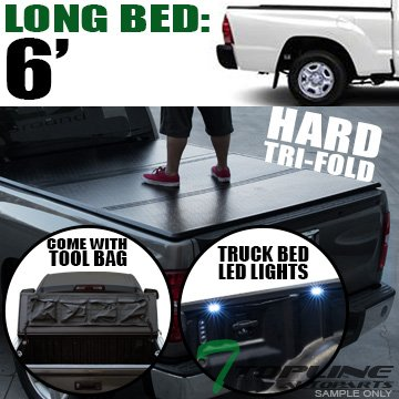 Cab Long Bed Snap (Topline Autopart Solid Hard Tri Fold Tonneau Cover With Tool Bag & Truck Bed LED Lighting System 05-15 Toyota Tacoma 6 Feet ( 72