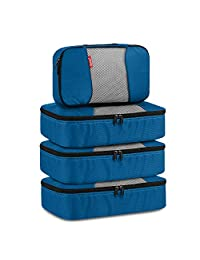 Travel Packing Cubes, Luggage Organizers 3 Medium+1 Small Deep Blue
