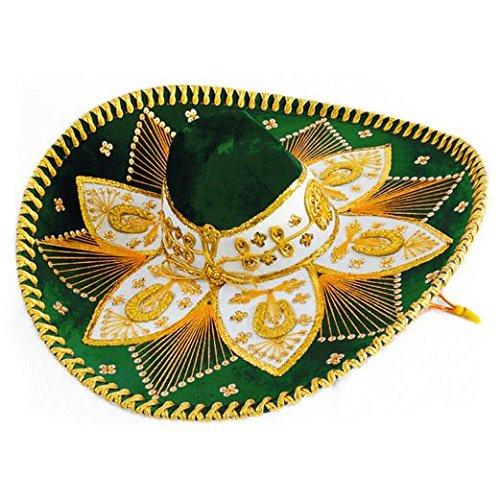 Charro Sombrero (Dark Green and Gold Mariachi Sombrero)