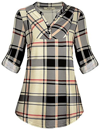Miusey Swing Shirt for Women, Ladies Loose Tunic for Leggings Leisure Plus Size Geometric Print Flattering Tee Shirts Youth Jersey Graceful Fashion Clothing Beige (Geometric Print Jersey)
