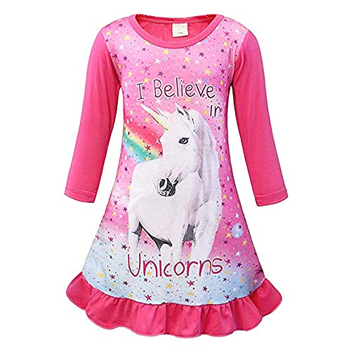 Girls Unicorn Nightgown Pajama Star Rainbow Printed Sleepwear Casual Sleep Shirts Nightie Princess Night Dresses (130 for 4-5Y, Pink,Long Sleeve)