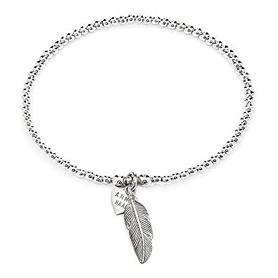 Annie Haak 17cm Santeenie Silver Charm Bee Bracelet, Stackable Single Strand with Dainty Bee Charm, 925 Sterling Silver Bead Bracelet