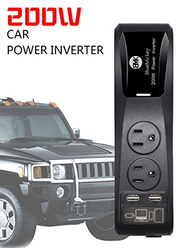 Car Power Inverter BMK 200W Powerful Converter Dual USB Ports Car Charger 4.8A+2 AC Outlets Plug+Cigarette Lighter Adapter for Laptop/Mac/iPhone/Sumsang (Vector Battery Chargers compare prices)
