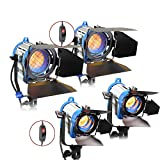 Alumotech Dimmer Built-in Fresnel Tungsten 150WX2+300WX2 900W Spotlight Halogen Lamp Studio Video Light Kit For Camera Photographic Lighting Compatible Arri Bulb