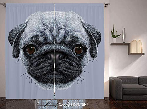 Thermal Insulated Blackout Window Curtain [ Pug,Realistic Style Detailed Young Dog with Cute Giant Eyes Pure Breed Pug Blue Backdrop Decorative,Slate Blue ] for Living Room Bedroom Dorm Room Classroom