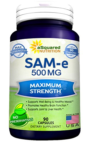 Pure SAM-e 500mg Supplement - 90 Capsules - SAMe (S-Adenosyl Methionine) to Support Mood, Joint Health, and Brain Function - Extra Strength SAM e Pills (Same 100 Mg 60 Tabs)
