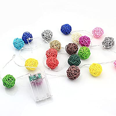 handcraft Set of 20 Rattan Bulbs in Candy Colors Plug-in Decoration Light. Holiday Lighting