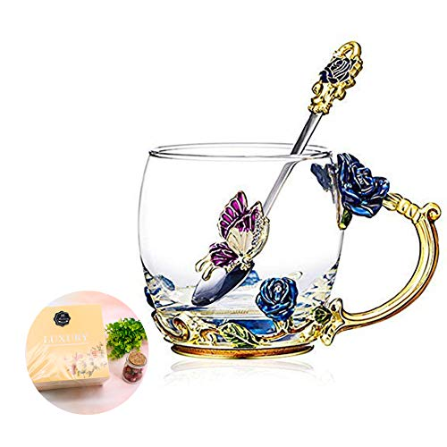 - Tea Cup Coffee Mug Cups, Glass Coffee Cups Tea Mugs 2018 Handmade Butterfly Rose,12 oz (Blue) Ideal for Friend Wedding Anniversary Birthday Presents