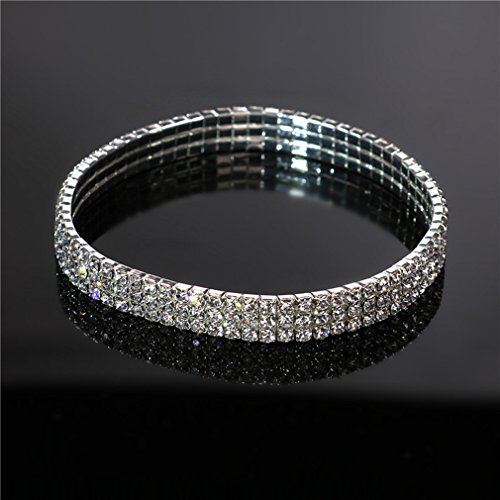 Rurah Bridal Princess Stretch Sparkling Crystal Clear diamond Ankle Bracelet Anklet (Bracelet Sparkling Diamonds)