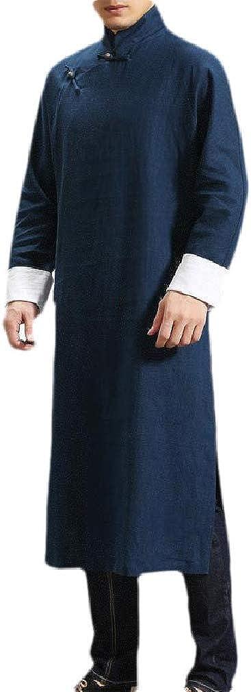 Zimaes-Men Martial Arts Mid Long Embroidered Windbreaker Overcoat