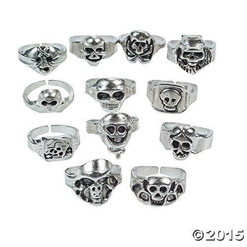 Lot of 12 Metal Skull Rings Kids Pirate Party ()