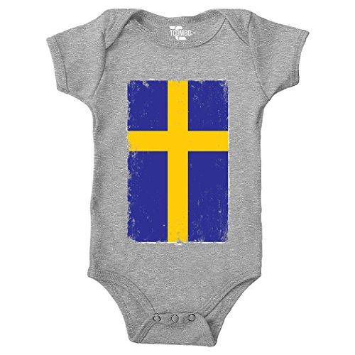 Big Distressed Sweden Flag - Swedish (Vertical) Bodysuit (6M, LIGHT (Rosetta 6 Light)