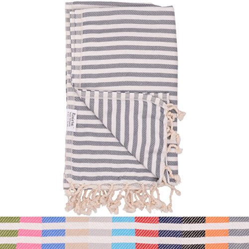 38fff1e6be Dark Grey Striped Turkish Towel - Naturally Dyed 100% Cotton - 70x39 inches  - Beach