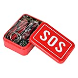 Survival Equipment Kit 6 in 1 Outdoor Emergency SOS Survival Tool Wilderness / Hiking / Camping - Wire Saw, Emergency Blanket, Multi-Purpose Pliers, Flintstone, First Aid Sticker, First Aid Whistle