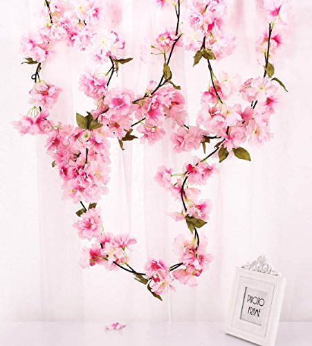 Vine Pink Floral (Charmly 2 Pcs Artificial Cherry Blossom Vine Faux Sakura Garland Oriental Cherry Wreath Hanging Plants Artificial Flowers Home Garden Yard Fence Party Wedding Decor Each 5.8 FT Pink)