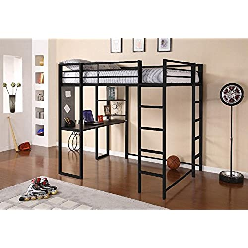 DHP Abode Full Size Loft Bed Metal Frame With Desk And Ladder Black