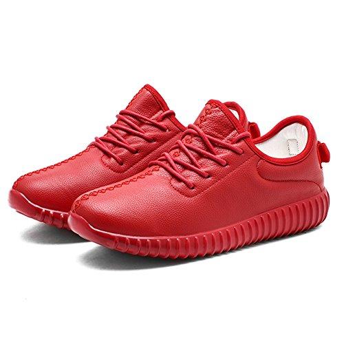 KONHILL Unisex Leichte Sportschuhe Kunstpelz Sneaker Casual Flexible Walking Laufschuhe A8901 Rot