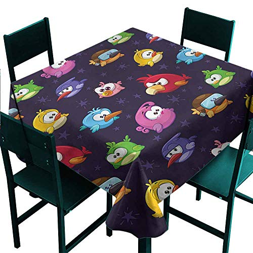 DONEECKL Antifouling Tablecloth Funny Angry Flying Birds Figure and Durable W63 xL63 -