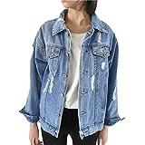 Pervobs Blouses, Big Promotion! Women Autumn Winter Denim Jacket Vintage Long Sleeve Loose Jeans Coat Outwear (L, Blue)