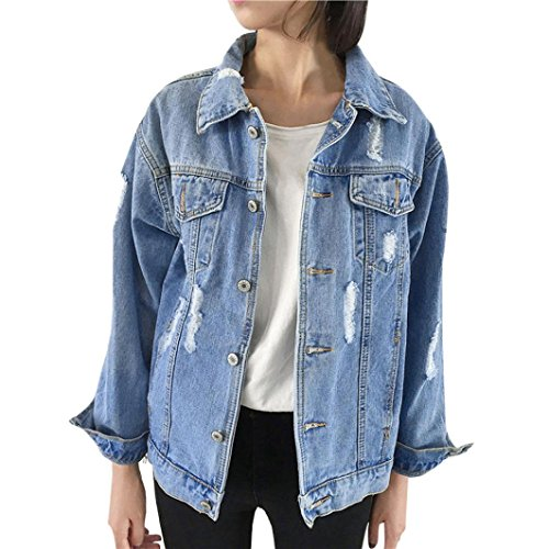 Pervobs Blouses, Big Promotion! Women Autumn Winter Denim Jacket Vintage Long Sleeve Loose Jeans Coat Outwear (L, Blue) by Pervobs Women Long-Sleeve Shirts (Image #7)