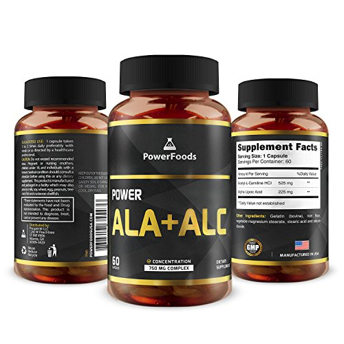 Pure Alpha Lipoic Acid + Acetyl L Carnitine (ALCAR) ★ Power ALA ALC x60 capsules (easy to swallow) ★ Antioxidant ★ Supports Immune System + Healthy Liver Function ★ Weight Loss + Energy For Sale