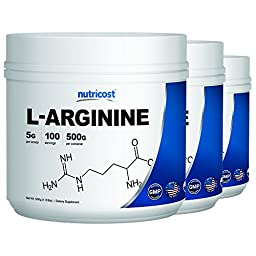 Nutricost L-Arginine (500G) (3 Bottles) - Pure L-Arginine Powder (500G Each) - 5G Per Serving …