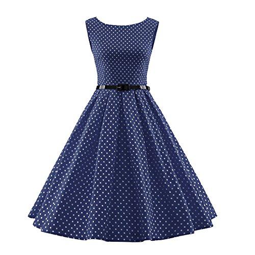 Summer BFY Dot Audrey Vintage Women's Polka 50s Sleeveless Blue 60s Dress Hepburn Belt qwFq1rz5