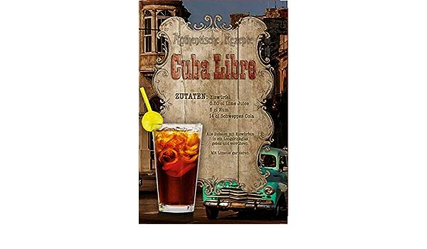 Cuba Libra Cocktail Recipe Menu Vintage style Retro Metal Sign bar pub mancave