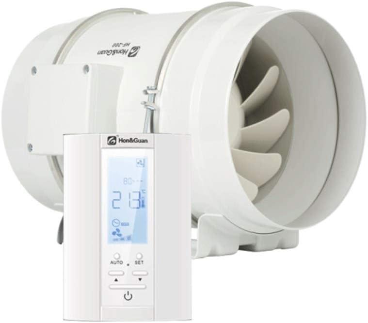 Hon&Guan ø200mm Baño Ventilador con Temporizador, Humidistato - Extractor de Aire con Controlador Inteligente y Soporte de Tres Velocidades (ø200mm)