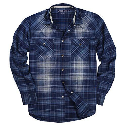 Mens Western Pearl Snap Long Sleeve Cowboy Shirts (Indigo, Modern Fit: XXX-Large)]()