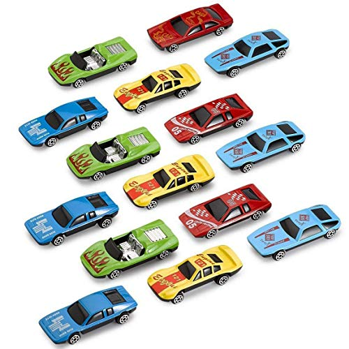 Kicko Diecast Racing Cars - 15 Pieces in Assorted Colors - 1 to 64 Scale Premium Quality - Party Favor, Prize