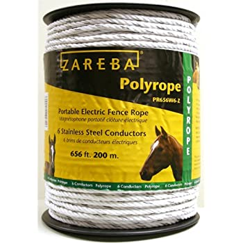 Zareba PR656W6-Z Polyrope 200-Meter 6-Conductor Portable Electric-Fence Rope